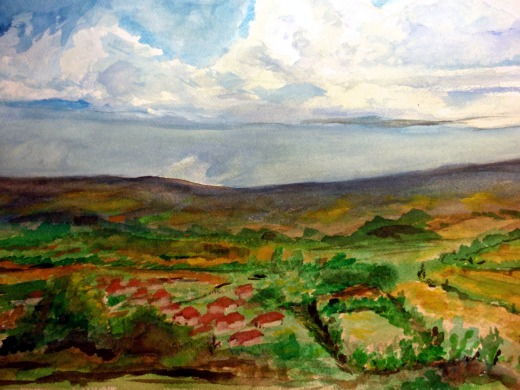 Landscape, watercolor, 16x20, William Frank Bellas