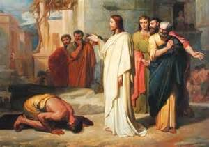Jesus rebukes the demon in the man at the Capernaum Synagogue.