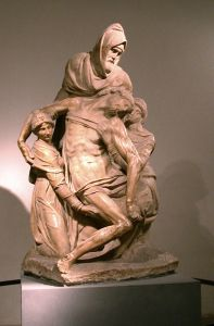 Nicodemus helping to take down Jesus' body from the cross (Pieta, by Michelangelo).